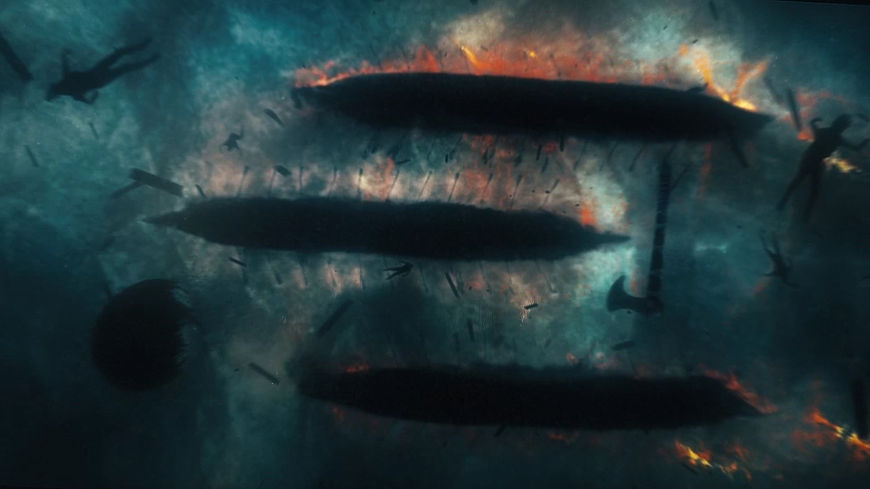 IMAGE: Still – boats on fire from season 4 sequence