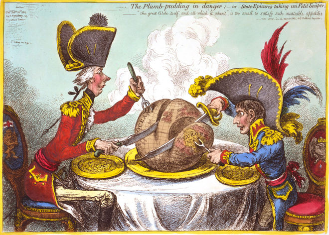"IMAGE: ""The Plumb-Pudding in Danger"" (1805) by James Gillray"