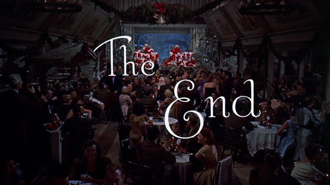 "IMAGE: White Christmas ""The End"" card"